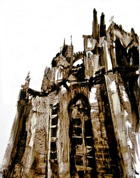 Dom Colonia IV, Teer auf Karton, 100 x 80 cm, 2013