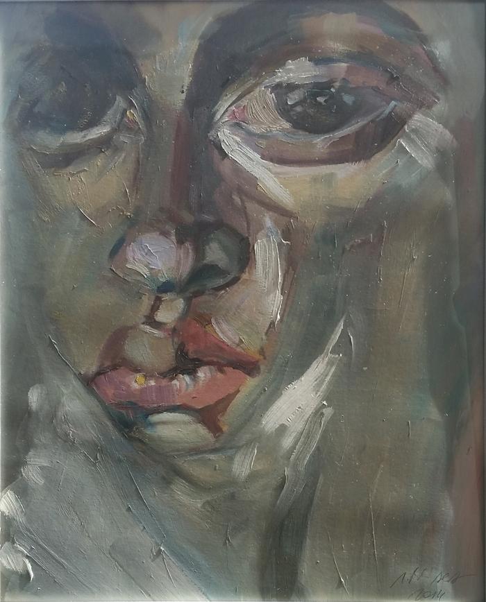 Izabela Beisert - ohne Titel, Öl auf Karton, 70 x 50 cm, 2014