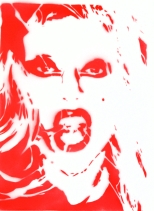 Jessica Kellershofen - Lady Gaga, Spraytechnik auf Leinwand, 40 x 30 cm, 2016